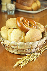 Assorted breads in the basket