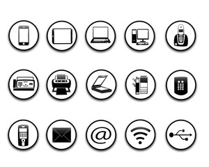 icônes bureau noir