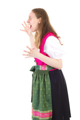 Upset girl in dirndl shouting very loud