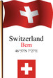 switzerland wavy flag and coordinates