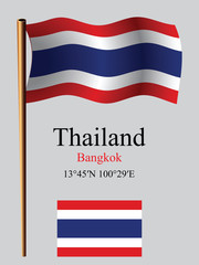 thailand wavy flag and coordinates