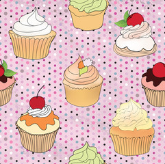 Pastry seamless vintage background. Sweets pattern. Cupcake set