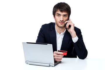Businessman shopping online