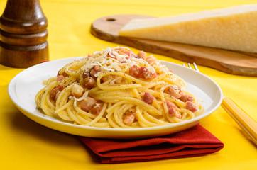 Italian pasta, carbonara spaghetti, selective focus