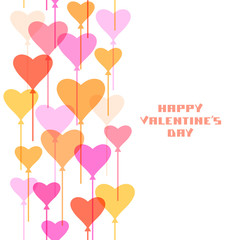 Valentine's card with heart balloons