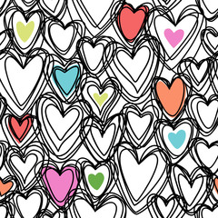 Seamless pattern with doodle hearts