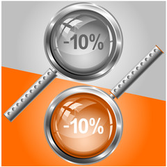 -5%. Vector magnifying glass.