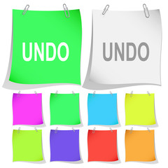 Undo. Vector note papers.