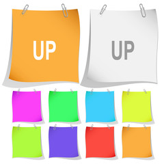 Up. Vector note papers.