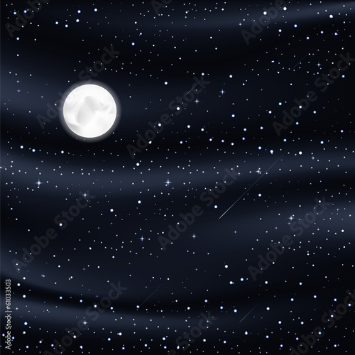 night sky with stars, moon, meteorites