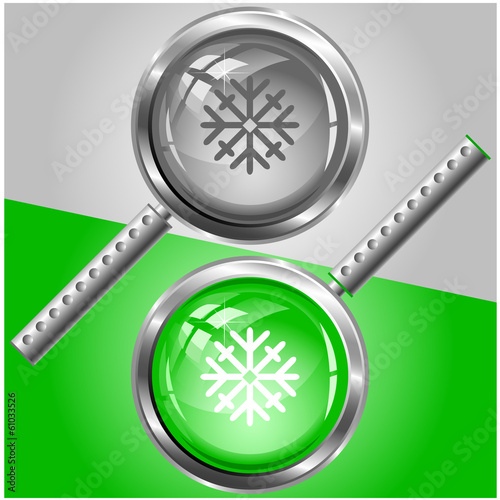 Snowflake. Vector magnifying glass.