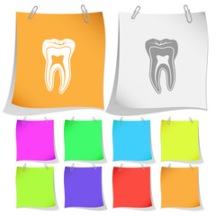 Tooth. Vector note papers.