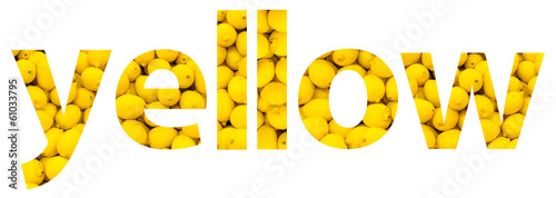 Yellow Color Word Concept Made Of Lemons