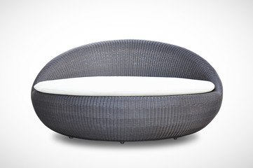 Round shape wicker sofa bed