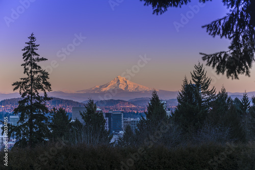 Foto op Canvas Vulkaan Mount Hood at Sunset