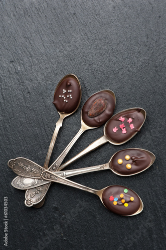 Black Chocolate  in spoons