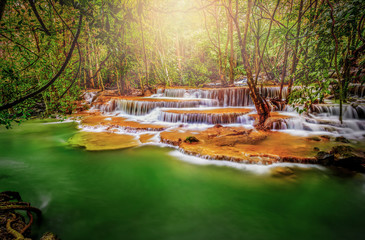 ฺฺBeautiful waterfall emerald Erawan  light, Kanchanaburi