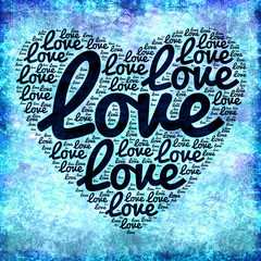 Coeur love nuage de mots fond bleu