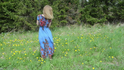Blond woman in long blue dress blow sowthistle fluffy seeds