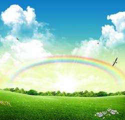 Parco primaverile con arcobaleno