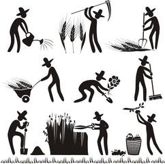 Garten Bauernhof Landwirtschaft Arbeiter Piktogramm Symbol