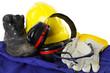 Leinwanddruck Bild - Arbeitsschutzkleidung eines Bauarbeiters
