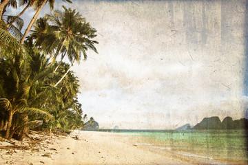 Plage avec palmier, style vintage