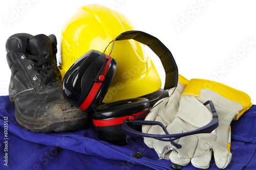 Leinwanddruck Bild Arbeitsschutzkleidung eines Bauarbeiters