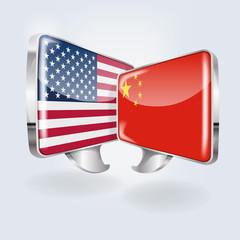 Sprechblasen in chinesisch und amerikanisch