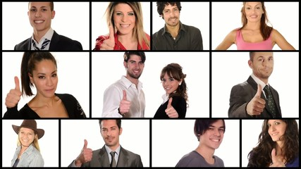 people doing thumbs-up collage