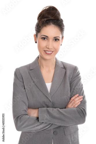 Attraktive lächelnde Business Frau freigestellt auf Weiß