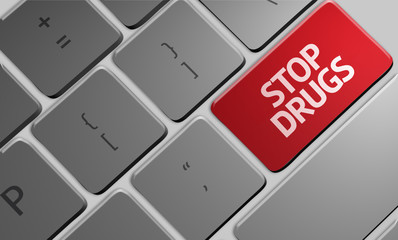 Stop Drugs computer keyboard