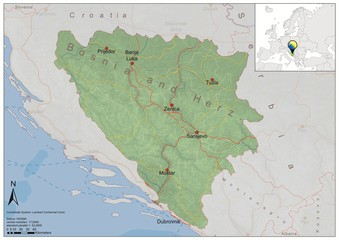 Bosna and Herzegovina road relief map
