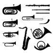 Music instruments vector set. Musical instrument silhouette - 61037194