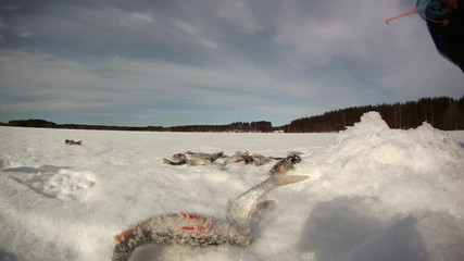 Ice fishing time-lapse