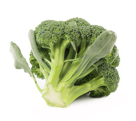 Fresh, Raw, Green Broccoli Pieces on white