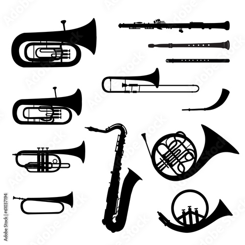 Music instruments vector set. Musical instrument silhouette