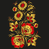 Floral vector background in traditional Russian Khokhloma style