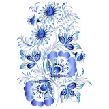 Russian national floral pattern in style Gzhel