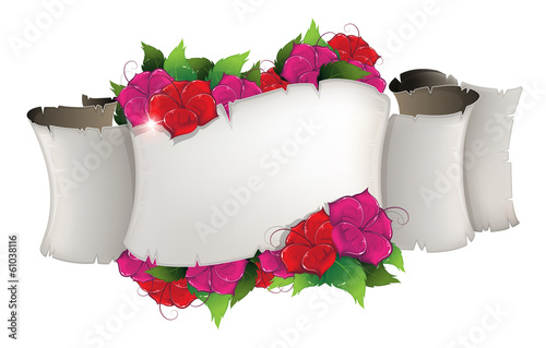 Flowers and old paper scroll