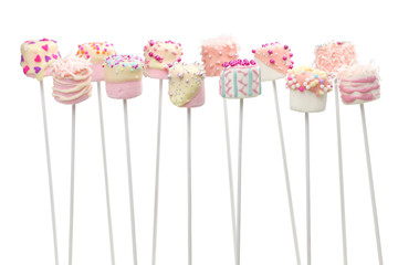 valentine marshmallow pops on white background