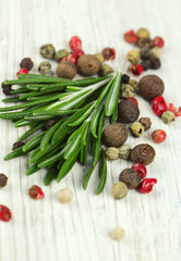 rosemary and peppercorns