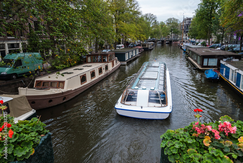 Traditional houseboats in Amsterdam, Netherlands
