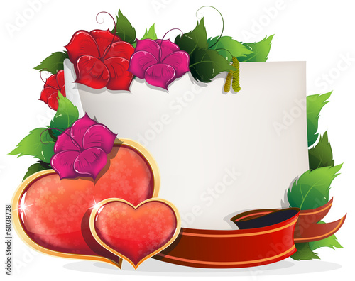Valentines Day Card with hearts and flowers