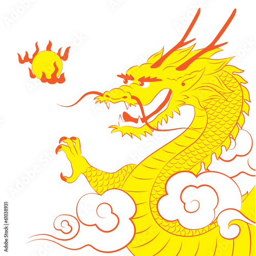 Traditional Chinese dragon with flaming pearl