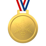 Winter games gold medal 3d render