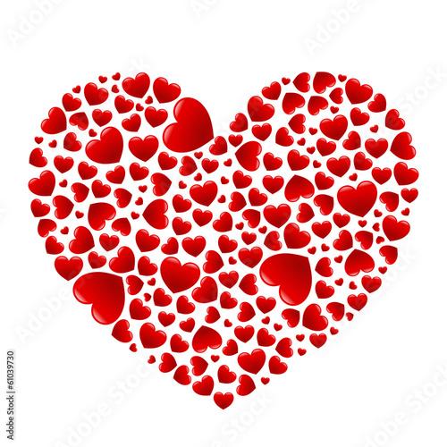 Herz aus vielen glänzenden roten Herzen – Vektor, freigestellt