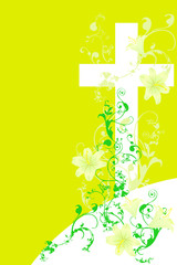 christian cross and plant  14