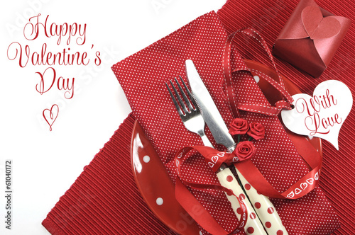 Happy Valentines Day red table place setting
