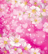 Vector pink background with hearts and flowers.